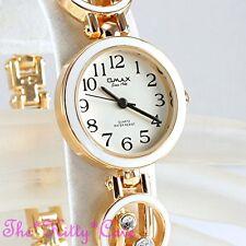 Omax JHS434 Ladies Retro White Enamel Gold Pltd Swiss Brand Seiko Crystal Watch