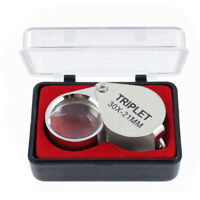 LED Double Multiple 30x 21mm Loupe Glass Lens Magnifier Jewelers Pocket Eye