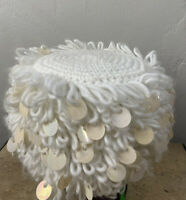 Vintage Mid Century Japan Acrylic Knit crochet White Sequins Glam Winter Hat