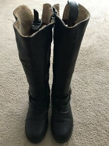 Ladies Black Faux Leather Knee Length Boots Uk 7