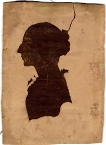 Antique NEW ENGLAND SILHOUETTE of WOMAN, c. 1800-30s - Paper Tear