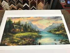 "Thomas Kinkade ""A Father's Perfect Day "" Signed & Numbered Lithograph 18 x 36"