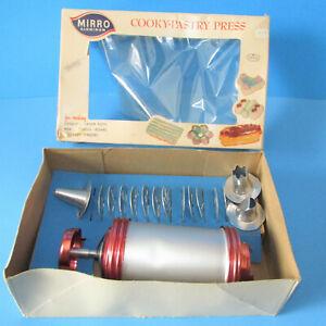 VTG Mirror Aluminum Cooky Cookie Pastry Press 358 AM Plates Discs Tips Box