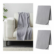 2 x IKEA VITMOSSA Grey Fleece Sofa Throws 120x160cm