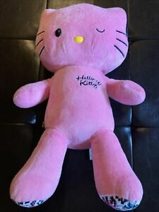 "Build a Bear Hello Kitty Pink Leopard Cheetah Print Plush Toy 19"" Sanrio"