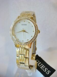 Brand New GUESS Chelsea W1209L2 Gold Tone Steel Crystal Ladies Watch 30mm