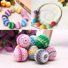 10pcs 20mm Wooden Crochet Round Beads For Baby Teething Jewelry Making Handmade