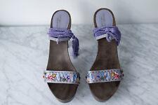 Sergio Rossi Wooden Platform Purple Wrap Around Tassels MINT Condition Size 38