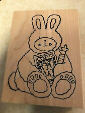 Bunny Rabbit With Carrot And Seeds, Easter/Spring Rubber Stamp, Euc