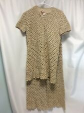 Lord and Taylor vintage crochet 2 piece pants/top tan lined short sleeve WOW!!
