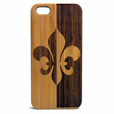 BAMBOO Case made for iPhone 5/5S&SE phone with Fleur De Lis Artwork Design Cover