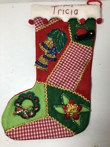 Vintage finished Felt And Sequin Christmas Stocking GINGHAM PATCHES SWEET