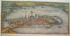 Lindau Bodensee Bayern  seltener Braun und  Hogenberg Kupferstich 1580