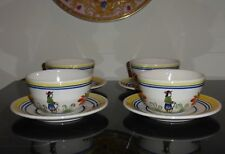 HENRIOT QUIMPER CUPS & SAUCERS MADE FOR ROTISSERIE NORMANDE RESTAURANT (FOUR)
