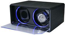 Diplomata Duplo 2 Enrolador Relógio Com Iluminação Led Azul Couro Preto 31-408