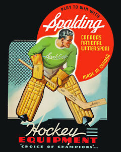 Spalding Goalie Hockey Equipment Ad Poster (1940's) - 8x10 Color Photo