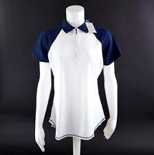 Peter Millar Womens Size Medium White Blue 1/2 Zip Short Sleeve Golf Shirt