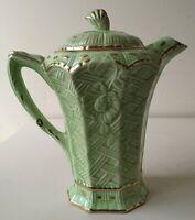 Vintage / Antique Art Nouveau Coffee Pot Forest / Flower Nature Green Gold Trim