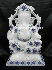 """12"""" White Marble Lord Ganesha Statue Real Lapis Stone Art Home Decor Gifts H2547"""