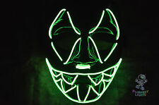 NEON GREEN Sharp Tooth Light Up DJ Rave Festival EDC EDM Halloween Costume Mask!