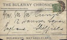 RHODESIA : 1892 Bulawayo Chronicle newspaper wrapper front sent to UK