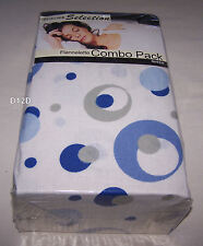 Designer Selection Blue Circles Queen Bed Flannel Fitted Sheet Combo Pack New
