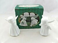 Vintage Kissing Angels White Bisque Porcelain Figurines by Giftco Mint
