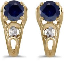 14k Yellow Gold Round Sapphire And Diamond Earrings (CM-E2583X-09)