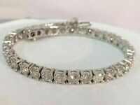 "10.00 Carat Round Cut VVS1 Diamond Tennis Bracelet 14k White Gold Over 7.25"""