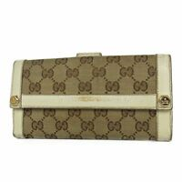 Auth GUCCI Logos GG Canvas Leather Bifold Long Wallet Purse Italy F/S 15696b