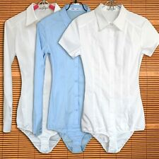 Women Bodysuit Shirt Blouse Button Down Short Long Sleeves Top White Blue Cotton