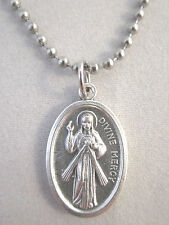 "Divine Mercy / St Faustina Medal Italy Pendant Necklace 24"" Ball Bead Chain"