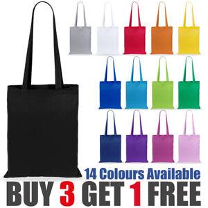 100% Premium Cotton Canvas Shopping Bag Shoulder Tote Shopper Bags Reusable
