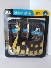 Wells Lamont Hydrahyde Heavy Duty Goatskin Leather Work Gloves Large 3 Pack Nob