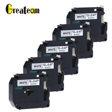 Label Tape M-K231 Compatible for Brother P-touch Label Maker PT65 12mm 5pk