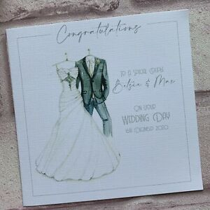 PERSONALISED Handmade  WEDDING DAY Congratulations CARD Sparkles