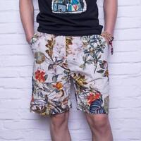 Men Casual Shorts Vintage Summer Printed Linen Elastic Waist Cotton Sweatshorts