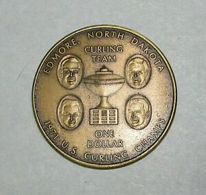 1971 Edmore ND Citizens State Bank US Curling Champs Trade Dollar Coin FREE S/H