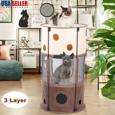 """3 Layer 39"""" Cat Tree Furniture Kitten House Play Tower Scratcher Condo Post Bed"""