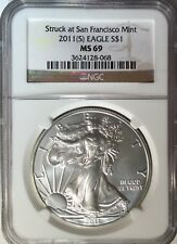 2011-S Struck at San Francisco mint. American Eagle NGC MS69 1 oz.999 Silver 244
