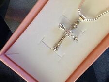 Sterling Silver Cross Crsystal Pendant & Necklace Set