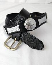 Western Equestrian Belt Leather Silver Concho Flower Women Small Medium 30 32 34