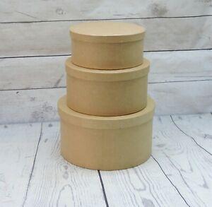 Round Paper Mache Box Set | Set of 3