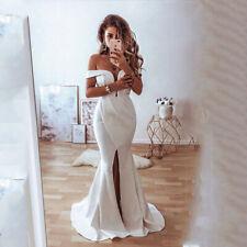 Off Shoulder Wedding Dresses Front Split Beach Mermaid Bridal Gowns Sweetheart