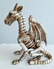 "Large Resin Gold Dragon Skeleton Ornament - Home Decor Halloween - 12"" Tall NEW"