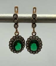 925 Sterling Silver Rose Gold Plated Green Crystal Cubic Zirconia Earrings