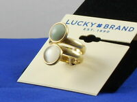 Lucky Brand Worn Gold Cat's Eye Aqua Jade Stack Look Wide Band Ring 7 JWEL1139