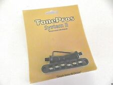 TONEPROS TPFR-B TUNEOMATIC BRIDGE WITH ROLLER SADDLES IN BLACK EPIPHONE BIGSBY