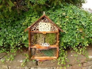 Unique Rustic Bee Bug  Insect Hotel & Bee bath, By Homes for Woodland Folk