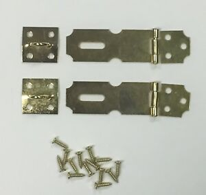 """1 Pack 2.5"""" Brass Hasp for Gate Door Latch Security Lock Hardware Brass Plated"""